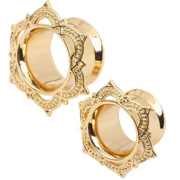 1 pair Ear Stretcher Flesh Tunnel Earring Gauges Expander 6-16mm Body Jewelry Gold Copper Ear Piercing Plugs