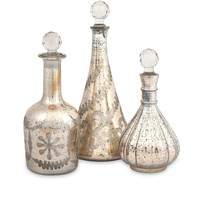 Audrey Etched Glass Decanters - Set of 3