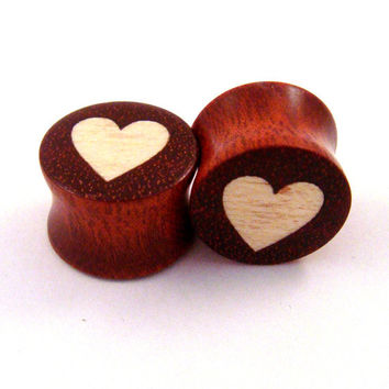 "Heart - Holly on Bloodwood - Wood on Wood Inlay Plugs - 00g (9mm) (10mm) 7/16"" (11 mm) 1/2"" (13 mm) 9/16"" (14 mm) 5/8 (16 mm) Wooden Gauges"