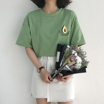Cute Avocado Embroidery Short Sleeve T-shirt (One size only - Please check measurement before ordering)