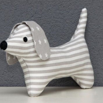 Little doggy stuffed animal decoration toy (Dachshund, Doxie toy, Wiener dog) from an original Retromama pattern