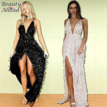 Sexy Tassel Women Backless V Neck Long Dress vestidos de fiesta 2016 Shiny Sequined Blush Keyhole High Split Party Maxi Dresses