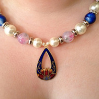 Pearl and patterned bead necklace with two Swarovski crystal rondelles, flower pendant, womens jewellery