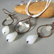 Copper jewelry set, white glass necklace, copper earrings, copper rustic jewelry