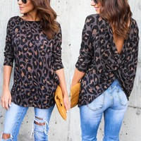 Women Casual Spring Newly Cotton Long Sleeve O-Neck Pullover Back Cross Hollow Out Floral Print Slim Shirt Tops