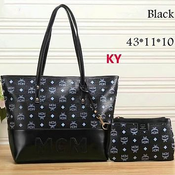 MCM Exquisite Trendy Women's Fashion Leather Tote Shoulder Bag Two-piece F-LLBPFSH black