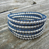 Silver Beaded 5 Wrap Bracelet on Blue Leather Chan Luu Inspired