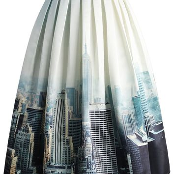 New York Skyline Printed Midi Skirt