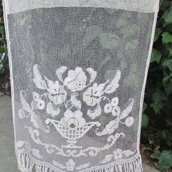 Crochet Curtain, French Filet Lace Panel, Ecru Antique Crochet Panel