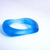 Blue Square Flat Resin Ring , blue resin ring jewelry , thin stacking resin ring , matte finish US Ring Size 8 clear jewellery