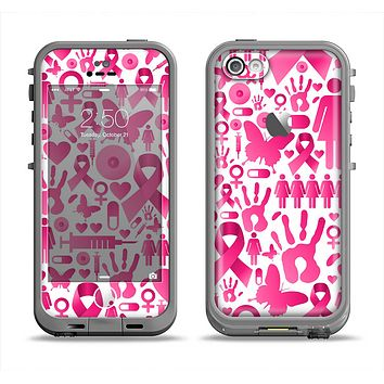 The Pink Collage Breast Cancer Awareness Apple iPhone 5c LifeProof Fre Case Skin Set