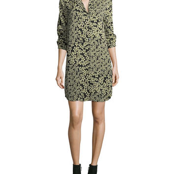 Equipment Freeda Field-Dreams Long-Sleeve Silk Shift Dress