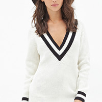 FOREVER 21 Deep V-Neck Sweater Cream/Black
