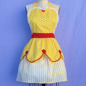 retro apron BELLE apron  Beauty and the Beast  inspired retro APRON womens full apron costume aprons in pretty yellow and red roses