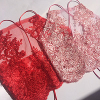 PASSION crop top halter red mesh ebroidery sequin rhinestone glittery backless strappy vest dress bra bralette boob tube tee shorts cord