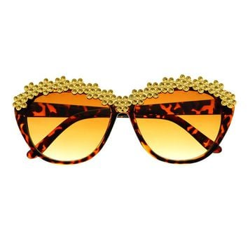Bling Gold Silver Celebrity Designer Fashion Retro Cat Eye Sunglasses C1070