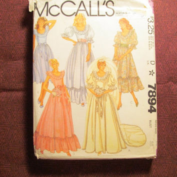 SALE Uncut 1980's McCall's sewing Pattern, 7894! Size 14 Bust 36 women's/Misses/Country Belle Dress/wedding gowns/dresses/Bridesmaid Dress/R
