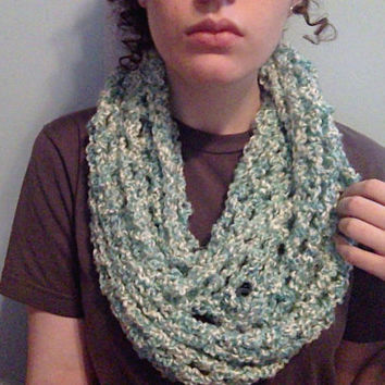 Crochet Women Mesh Infinity Scarf in Seafoam - Green Blue Multi - Pretty Shawl Wrap - Year Round Wear - Lightweight Scarf - Womens Scarves
