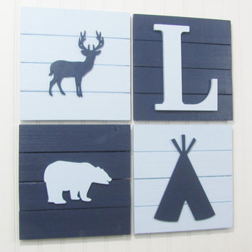 Nursery Wall Decor, Tribal Decor, Woodland Decor, Nursery Wall Art, Pallet Board, Pallet Sign, Tee Pee, Woodland Animals, Deer, Bear, Baby