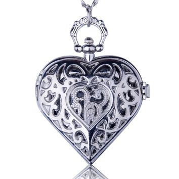 Heart Antique Necklace Pendant Quartz Pocket Watch