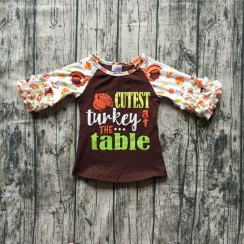 fall/winter baby girls thanksgiving cutest turkey the table cotton icing sleeve top t-shirts raglans children clothes kids wear