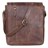 Vintage Leather Buffalo Flap Over Bag , Satchel Bag