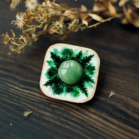 Deep in Forest wooden gemstone Brooch, indie mystical handpainted brooch, woodland boho jewelry, white and green nephrite