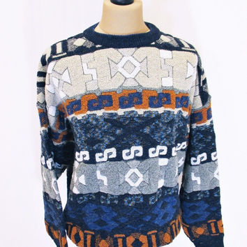 Vintage 1990s AZTEC Sweater Jumper XL Geometric Indie Hipster Crazy Pattern