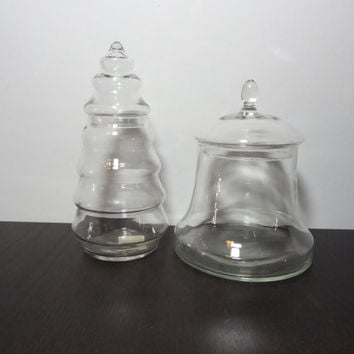 Vintage Clear Glass Anchor Hocking Christmas Tree and Clear Glass Bell Jars - Set of 2 Christmas Glass Canisters/Apothecary/Storage Jars