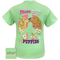 Girlie Girl Originals Preppy Peace Love Puppies T Shirt