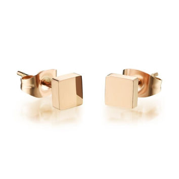 Birthday Gifts Ladies Rose Gold Titanium Shiny Cube Earrings [9047553159]