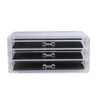 1 Pcs Transparent Acrylic Make Up Organizer 3 Drawers Storage Box Clear Cosmetic Storage Box Organizers