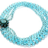 Miriam Haskell Necklace Blue Glass Bead Foiled Rhinestone Vintage Signed