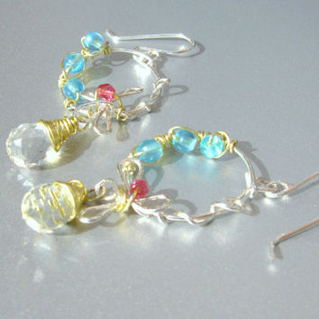 Silver and yellow copper colored earrings with crystal briolette