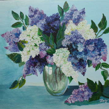 Flower Lilac * Acrylic Painting On Canvas * wall decorations * Purple flowers