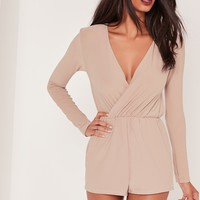 Missguided - Crepe Wrap Playsuit Nude