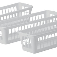 United Solutions BS0003-Set of Three Slim Plastic Storage Baskets in White-3 White Storage Baskets with Slim Design-3.375 inch Width-Ideal to Organize Items in Deep Drawers and Shelf Storage