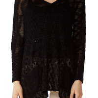 Black Long Length V-Neck Women's Sweater