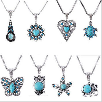 Women's Vintage Silver Crystal Owl Inlay Eyes Cute Turtle Love Butterfly Starfish Turquoise Pendant Chain Necklace