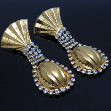 Long Rhinestone Earrings Kim Vintage Costume Jewelry E3972