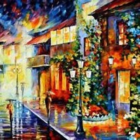 "TOWN FROM THE DREAM — Oil Painting On Canvas By Leonid Afremov Size: 48""x36"""