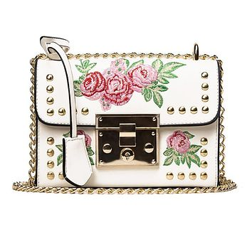 DUODUOMAO handmade Leaves Print flowers bucket bags shoulder bags with chain Drawstring small cross body bags bolsos mujer