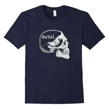 Funny Metal on the Mind Music Lover Skull T-Shirt