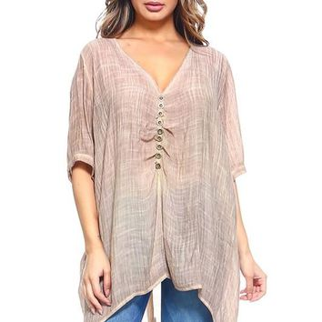 Dyed Tunic Top with Buttoned Sleeve Trim