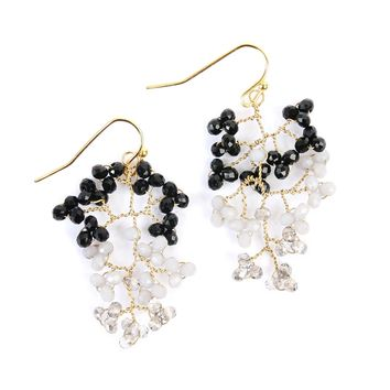 Tree Branch Wired Beaded Earrings