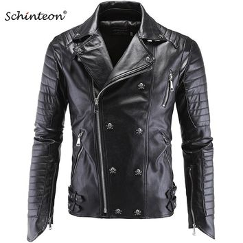 Male Plus Size Leather Jacket Skull Rivet Studded Punk Rock Men Motorcycle Black Leather Biker Coat Autumn Outwear