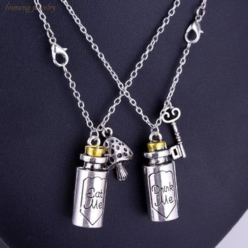 Drop Shipping The Album's Title Eat Me Drink Me Charm Pendant Necklace Fairy Tale Story Alice in Wonderland Necklaces