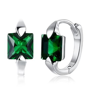 Square Cut Huggie Emerald Earrings