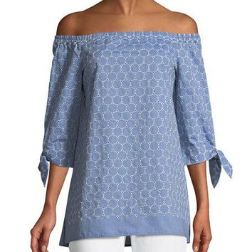 Lafayette 148 New York Natayla Eyelet Off-the-Shoulder Blouse
