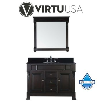 "Huntshire 48"" Single Bathroom Vanity in Dark Walnut with Black Galaxy Granite Top and Round Sink with Mirror"